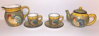 7 Piece Rooster Serving Set, Pitcher, Teapot, 2 Cups and Saucers