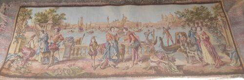 """Vintage Venice Canal Tapestry 58"""" X 19"""" Belguim Woven"""
