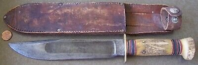 """Vintage MARBLE'S Hunting Fighting KNIFE 8"""" blade STAG / STAG w/ MARBLE'S Sheath"""
