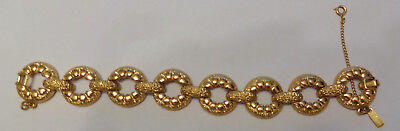 (Vintage Signed Monet Gold Plated Pattern Designed Chunky Chain Link Bracelet)