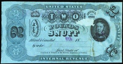 TE222C, Two Pounds Snuff Tax Paid Stamp - Hard to Find! -- Stuart Katz for sale  Shipping to India
