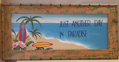 Paradise Surf Sign - Just Another Day In Paradise Surf Surfing Painted Wall Art Sign Beach Tropical