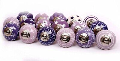 10 Knobs Purple & White Hand Painted Ceramic Knobs Cabinet Drawer Pull
