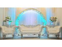 Wedding stage hire, Mehendi stages, Table decor, house lighting etc