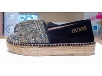Guess Rosina Glitter Espadrilles. Fancy Flats. New + Neat. Shoes fit with dress + pants. Size: 4.5