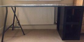 IKEA Glass Desk with 2 Storage Unit