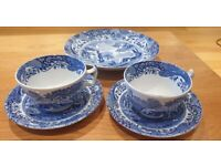 """SPODE ITALIAN BLUE/WHITE 2x cup/saucers and 1 dish 8.5"""""""