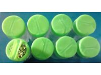 10 New Green Coloured Lid Refillable Clear Glass Spices Herbs Jars Holders.