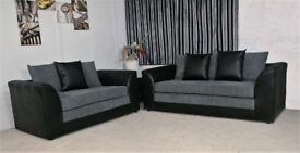 🌷💚🌷BLACK/GREY OR BROWN/BEIGE🌷💚🌷SUPREME QUALITY- NEW JUMBO CORD BYRON CORNER / 3+2 SOFA SET