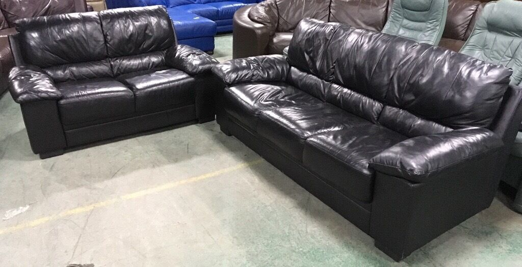 DFS Black leather sofa set WE DELIVER UK WIDE
