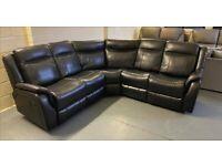 Black large 5 seat recliner corner sofa
