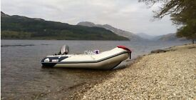Honwave Air V-Floor Inflatable Boat with Mariner Marathon 25hp Outboard