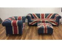 Union Jack furniture for sale. 3 seater settee, Chair & Footstool Used see  pics