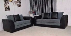 BLACK AND GREY COLORS-New BYRON Jumbo Cord Corner or 3 and 2 Seater Sofa Suite --High Quality--