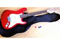Wesley Stratocaster Electric Guitar with Case, Plectrums and Tremolo Arm In Great Condition