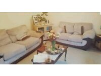 Beige used sofa set. 2 double sofash, pillows, foot stool