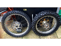 KTM WHEELS EXC F SX SXF WITH DISCS SPROCKETS TYRES COMPLETE