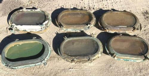 """Set of Six Brass Willis Opening Portholes 10"""" x 16"""""""