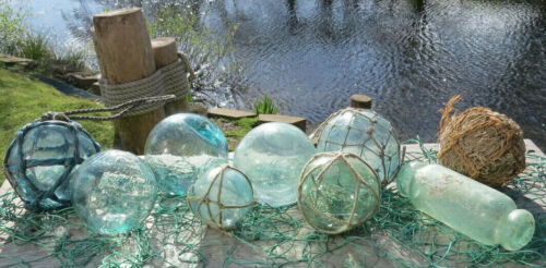 Japanese GLASS Fishing FLOATS (9) Odd Balls Water Barnacle Makers Marks Tri-Mold