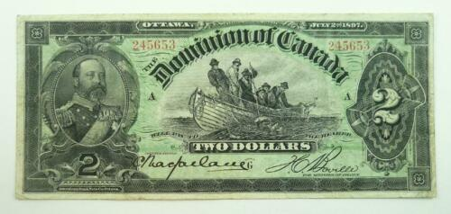 Rare 1897 Dominion of Canada $2.00 Banknote - Edward, Prince of Wales - F to VF