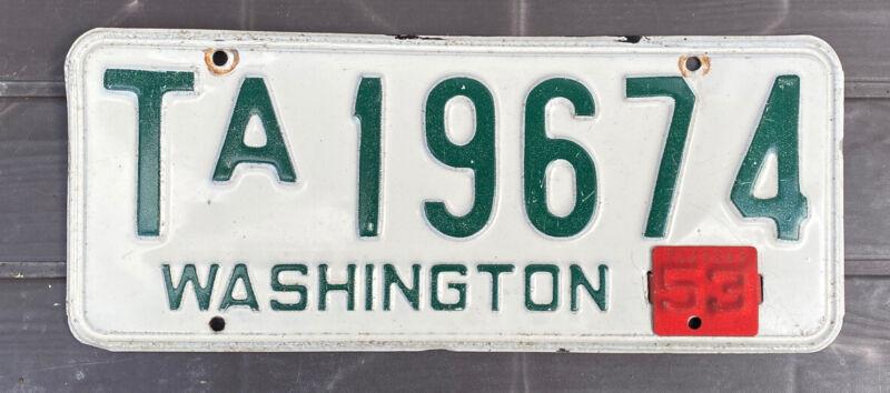 Gorgeous 100% original Washington 1950-53 King County Truck License Plate Single