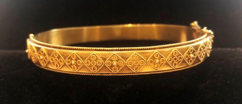 Antique Gold 15 Kt Etruscan Bangle Bracelet