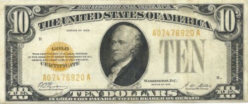 1928 $10 GOLD CERTIFICATE ~ VERY NICE BRIGHT & CRISP EXTREMELY FINE NOTE ~ SUPER
