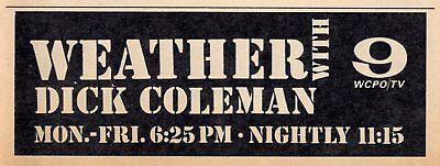1964 Wcpo Tv News Ad Dick Coleman Weather Channel 9 Cincinnati Ohio