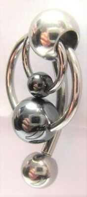 Surgical Steel Double Hoop Balls Dangle Barbell VCH Clitoral Hood Ring 14 (14 Gauge Surgical Steel Barbell)