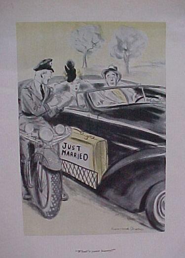 ORIGINAL ESQUIRE CARTOON POLICEMAN W/ BRIDE,GROOM 1939