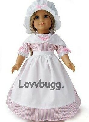 "Lovvbugg Colonial Pink Stripe Dress Set for 18"" American Girl Felicity Clothes"