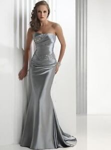 Silver Long Evening/Prom Dress/Party/Formal Gown Wedding Gown Sz 6 8 10 12 14 16