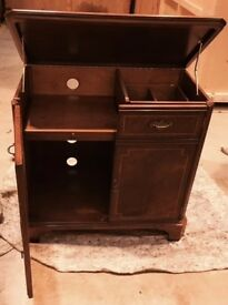 Reproduction Mahogany Stereo Storage Cabinet with Ribbon Inlay
