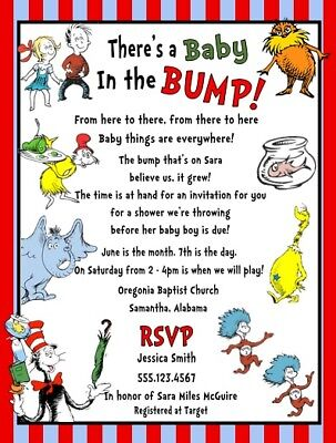 Dr Seuss Horton Thing 1 & 2 Cat Hat Baby Shower Party Invitations Personalized - Personalized Party Invitations