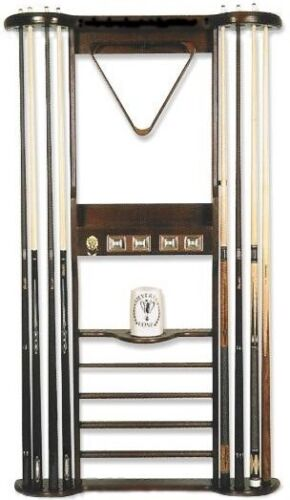 8 CUE WALL RACK with SCORERS for POOL TABLE / BILLIARD CUES /CUE STICKS~MAHOGANY