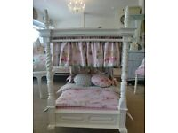 Childrens four poster solid wood dolls bed