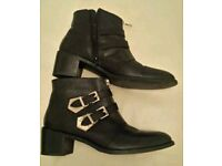 FAITH BLACK GENUINE LEATHER ANKLE BOOTS SIZE 7