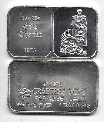 1973 ~ 1 oz. .999 Silver Proof Art Bar Thanksgiving Crabtree Mint on Rummage