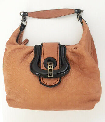 85689ede100c AUTHENTIC FENDI Brown Black Soft Nappa Leather B Buckle Hobo Bag for sale  Sunnyvale