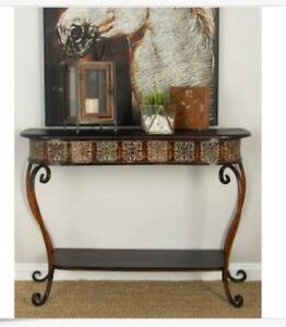 console sofa table entryway wood metal living room furniture accent hall foyer - Foyer Table