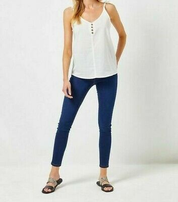 NEW RRP £22 Ex Dorothy Perkins Ivory Button Camisole Cotton Top