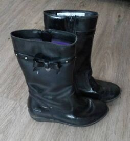 Clarks girls leather boots size 12 G