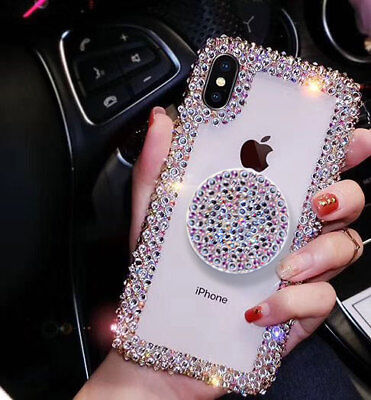 (Luxury Bling Crystal Rhinestone Cover Glitter Diamond Stand Case For iPhone XR X)