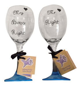 Mr right mrs always right matching wine glasses set of 2 funny christmas gift ebay - Funny wine glasses uk ...