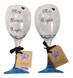 Mr right mrs always right matching wine glasses set of 2 funny christmas gift ebay - Funny wine glasses uk ...
