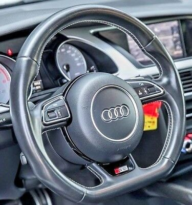 Audi OEM B8 A5 S5 2013-2017 Flat Bottom Steering Wheel With Colored Stitching