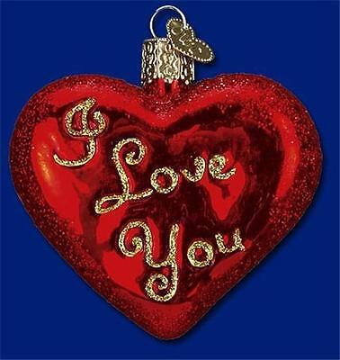 I LOVE YOU HEART OLD WORLD CHRISTMAS GLASS VALENTINE ROMANTIC ORNAMENT 30021