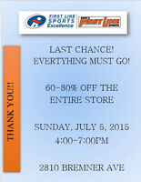 60-80% OFF FIRST LINE SPORTS LAST CHANCE SALE