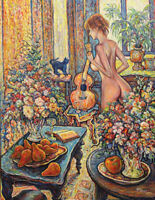 Original Oil Painting Naked Woman With A Guitar