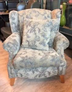 Wing Back Chair with 2 matching accent pillows